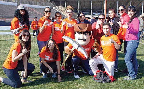 UTEP students with Miners mascot