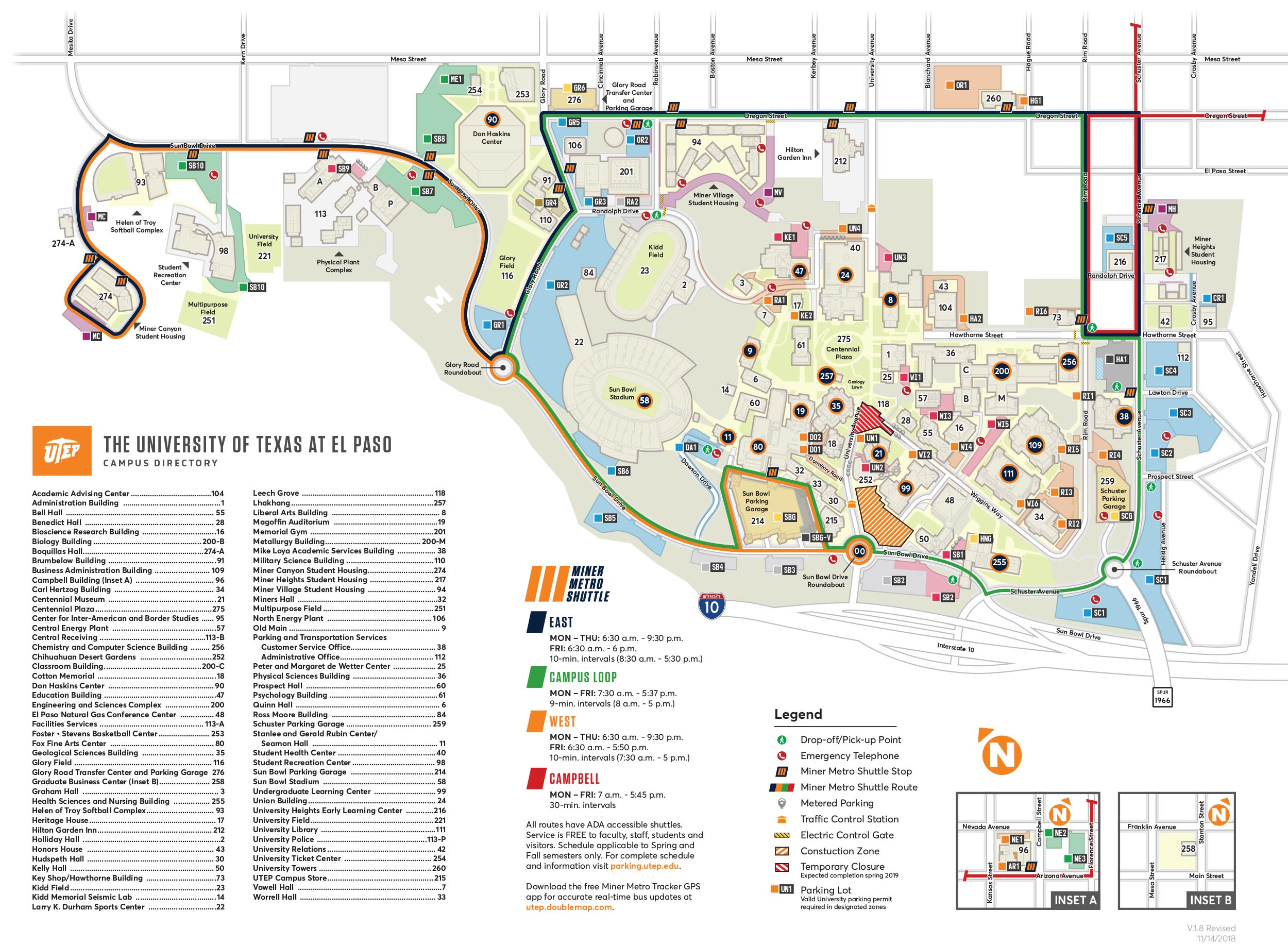Utep Parking Map CAMPUS MAP | UTEP Online Visitor's Guide